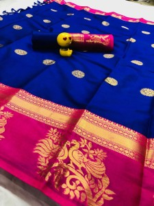 Aura Seema Butta Fancy Pure Cotton Silk Saree