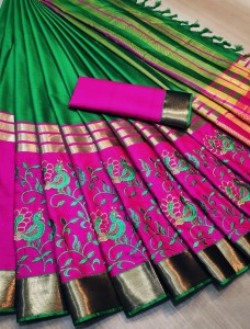 Party Wear Fancy Rich Cotton Silk Saree