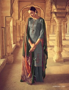 Mumtaz Arts Aangan Jam Satin Dress Material ( 7 pc catalog )