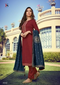 DEEPSY SUITS MONALISA SILK EMBROIDERY DRESS MATERIAL ( 6 PCS CATALOG )
