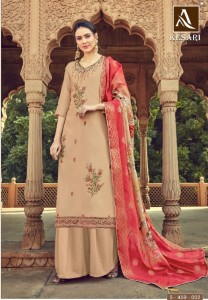 Alok Suit Kesari Party Wear Embroidery Work Dress Material ( 8 Pcs catalog )