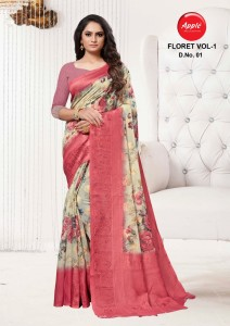 Apple Floret Soft Cotton Silk Saree ( 8 Pcs Catalog )