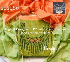 Designer Silk with Hand Embroidery Dress Material (4 pcs Set)