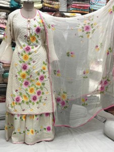 Cotton Digital Embroidery Gharara