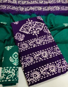 Cotton Designer Wax Batik Top Dress Material ( 6 pc set )