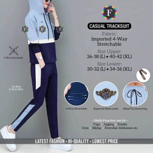 Casul Tracksuit Imported 4-Way Stretchable Striped Design with Pocket ( 9 Pcs Set )
